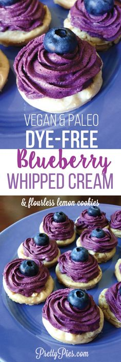 No food coloring needed to create this gorgeous purple! Dye Free Blueberry Whipped Cream & Flourless Lemon Cookies (free from gluten, grains, dairy, refined sugar and eggs) #vegan #paleo recipe from PrettyPies.com