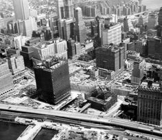 Aerial view of World Trade Center during construction, August 14, 1969.