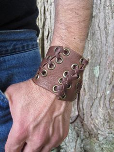 Warrior Cuff Brown Leather Bracelet Leather by Vacationhouse, $65.00