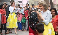 Queen Mathilde of Belgium dazzles in an eye-catching yellow skirt