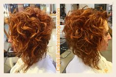Copper Gold color with Matrix Color Insider by Carla Bob Haircut Curly, Short Curly Haircuts, Permed Hairstyles, Pretty Hairstyles, Short Permed Hair, Curly Hair Cuts, Wavy Hair, Curly Hair Styles, Hair Color And Cut