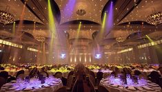Ballroom and effects lighting for Dinner with Endstage presentation/screens