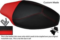Negro-Y-Rojo-Custom-Fits-Yamaha-Cs-50-Jog-R-de-doble-Cuero-Real-cubierta-de-asiento