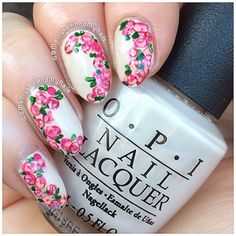 Roses Using OPI 'My Vampire Is Buff', 'Elephantastic Pink', 'Pink Flamenco', 'OPI Red' and 'Alpine Snow'  Perfect for spring! ☀️
