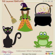 Halloween Witch Layered TEMPLATES #CUdigitals cudigitals.com cu commercial digital scrap #digiscrap scrapbook graphics