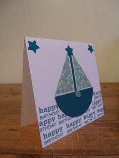 Blue Boat Birthday Card for a Boy by BluebellGraceCrafts on Etsy, £2.75