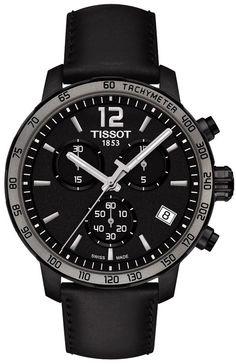 88352546d Tissot Men's Swiss Chronograph T-Classic Quickster Black Leather Strap Watch