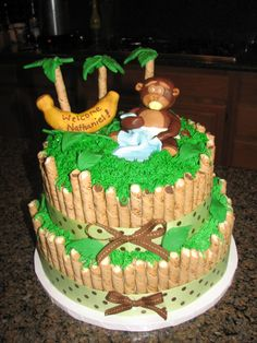 "Love the ""bamboo"" around cake"