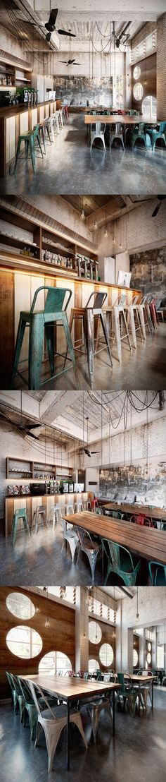 Industrial Design Restaurant Creative - The picture shows the various corners of the room which has a classic feel but looks very comfortable. #industrialdesignrestaurantcreative #industrial_design_restaurant_creative #industrialdesignrestaurant #industrialdesign #restaurantdesign