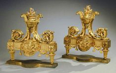 Consuelo Vanderbilt | From the estate of Lady Sarah Spencer-Churchill Pair of Louis XVI Gilt-Bronze Chenets   (late 18th century); previously among the collection of Consuelo Vanderbilt Balsan, Hotel de Marlborough, 9 Avenue Charles Floquet, Paris. Sold for $ 54,625 at Doyle New York Auction, 15 May 2001. Sale 0105151 - Lot 88.