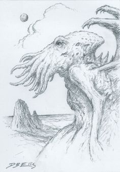 CTHULHU NO 54 original sci fi art, lovecraft, cthulhu mythos, horror