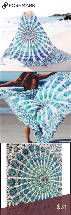 Blue tone boho blanket Indian mandala see through Great for beaches as the material is chiffon so barely nothing sticks to it or stains it! Also great for fields tanning in the park and making a statement! no trades  ✈️ SHIPS TOMORROW  Brand new!  ❓  ask any questions and comment below!!  ❗️❗️❗️brand added for reference ❗️❗️❗️ ❌SIZE -  58x58 inches Nasty Gal Swim
