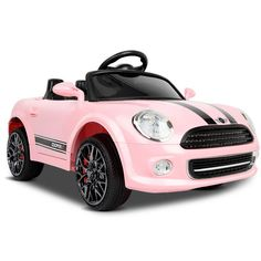 Mini Cooper Inspired Kids Ride On Car Pink Toy Cars For Kids, Kids Toys, Sport Seats, Kids Ride On, Racing Stripes, Ride On Toys, Inspiration For Kids, Childcare, Baby Car