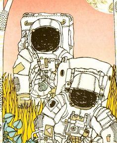lost astronauts screenprint (animalsleep on etsy)