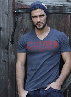 SALE Mens tshirt gray vneck with rock climbing by weareallsmith, $24.99