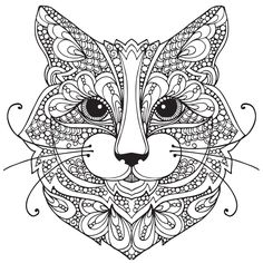 Adult Coloring Pages: Cat-1