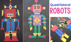 Projected based learning using quadrilateral robots to engage and teacher students about quadrilaterals while they invent their own quadrilateral robots! Math Art, Fun Math, Math Games, Maths, Easy Math, Fourth Grade Math, Second Grade Math, Grade 2, 3d Figures