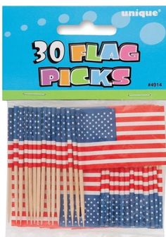 """ON SALE $ 3.13  30pc Pack 2"""" American US Flag Picks Patriotic 4th Of July Decorations Cup Cakes"""