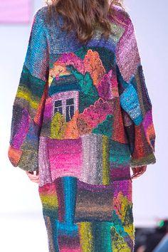 RUSSIAN LANDSCAPE  handmade knitted summer coat for women