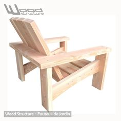 wooden armchair - Wood Structure - manufacturer of outdoor wood furniture for garden . Outdoor Wood Furniture, Pallet Furniture, Furniture Plans, Home Furniture, Pallet Chair, Diy Chair, Deck Chairs, Outdoor Chairs, Outdoor Lounge