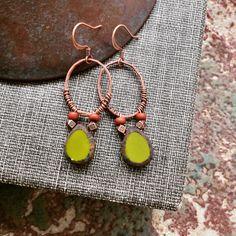 Chartreuse Baby Earrings  Patina  Czech Glass  Gypsy by YaYJewelry