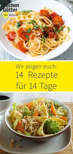 Pizza, Pasta oder Auflauf? Wir zeigen dir 14 einfache Rezepte für 14 Tage. Pasta, Spaghetti, Ethnic Recipes, Food, Simple Recipes, Casseroles, Eat Lunch, Food And Drinks, Cooking Recipes