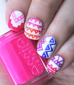 Tribal Nails #neons #nailart #Essie