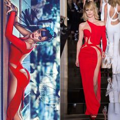 Rihanna wearing Atelier Versace Spring 2015 couture red dress in Harper's Bazaar China April 2015 issue