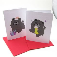 Chow Chow Christmas Cards  ChowBi Gray Chow Chow by maustudio, $14.00