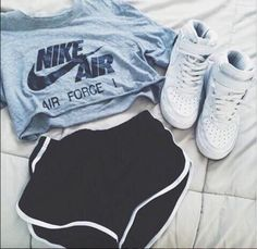 top nike nike air force t-shirt crop tops shorts shoes sportswear sports ❤️
