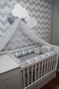 Baby Cribs Wooden canopy with lacquered paint, 40 cm deep x 45 cm long x 30 cm high. Baby Boy Rooms, Baby Bedroom, Baby Room Decor, Baby Boy Nurseries, Baby Cribs, Nursery Room, Kids Bedroom, Kids Rooms, Baby Room Design