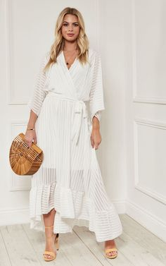 345ea180a9 White Plunge Maxi Dress By Lilah Rose