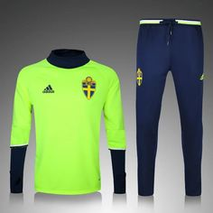 Sweden Euro 2016 17 Green Men Tracksuit Slim Fit. Real MadridSoccer ... f7141aeb43a27