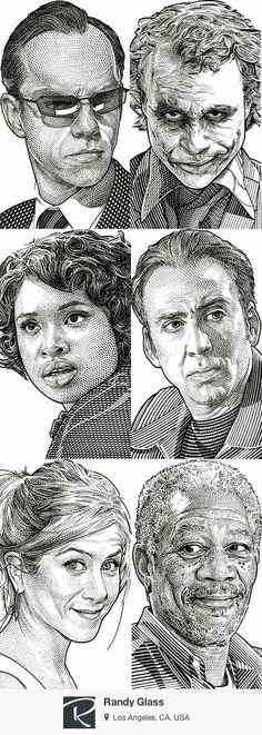 Wall Street Journal Hedcuts - Randy Glass {contemporary art b+w celebrity face portrait illustrations #2good2btrue} <3