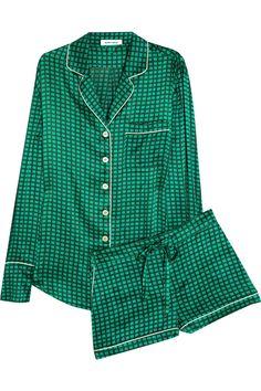 Olivia Von Halle Alba Maria printed silk-satin pajama set - that's cute Satin Pyjama Set, Satin Pajamas, Pajama Set, Olivia Von Halle, Cute Pjs, Cute Pajamas, Plaid Pajamas, Pijamas Women, Mein Style