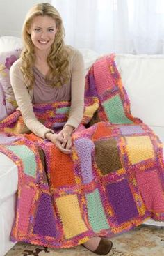 Scrap Quilt Throw Free Crochet Pattern from Red Heart Yarns