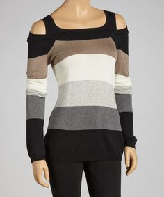 Take a look at this Laurie b. Black Stripe Layered Sweater on zulily today!