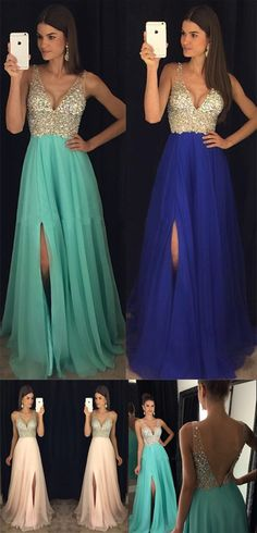 Prom Dresses,Gowns Prom,Beaded V Neck Prom Dresses,Open Back Chiffon Prom Gowns,Evening Gowns With Left Slit,M7