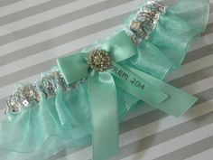 Prom Garters, 2014 Prom Ribbon,Custom Colors Prom Garter, Prom Garters.Prom Garter Silver Sequences Over Aqua Organza