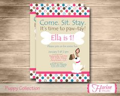 Hey, I found this really awesome Etsy listing at https://www.etsy.com/listing/174954412/pink-puppy-birthday-party-invitation