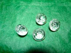 "(4) 1/2"" DECORATIVE CLEAR GLASS SHANK BUTTONS VINTAGE LOT (L476)"