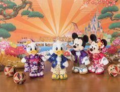 東京ディズニーリゾート,お正月,グッズ,ぬいぐるみバッジ,ドナルド.デイジー,ミッキー,ミニー