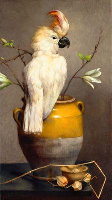 'Posing Parrot' (2008) by Danish painter Louise C. Fenne (b.1972). Oil on canvas, 80 x 45 cm. via the artist's site