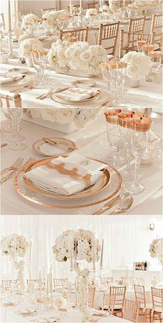 rose gold and ivory wedding reception decor