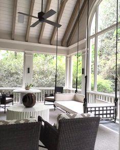 Back Porch Designs, Screened Porch Designs, Screened In Porch, Farmhouse Front Porches, Southern Porches, Country Porches, Porch Kits, Porch Ideas, Pergola Ideas