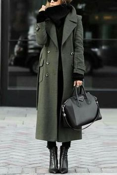 Description Product Name Green Trench Coat With Turn-Down Collar Elegant Wool Coat SKU Material Polyester fiber Style Fashion Occasi… – Winter Coat Green Trench Coat, Trench Coat Outfit, Long Coat Outfit, Winter Trench Coat, Yellow Coat, Classic Trench Coat, Long Trench Coat, Mode Outfits, Summer Work Outfits