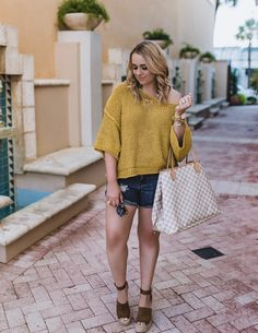 Free People Cozy Knit Pullover - The Fancy Things. Mustard sweater+denim shorts+brown lace-up espadrille wedges+grey, white and camel tote bag+gold jewelry+sunglasses. Spring Casual Outfit 2017