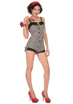 NEW VooDoo Vixen Vintage 50s Gingham Jumper Checkered Romper Playsuit Shorts #VooDooVixen #50sRomper