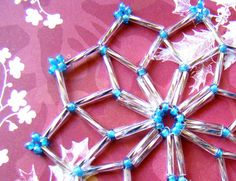 Beaded Snowflakes //  Snowflake Ornaments // by ElephantBeads, $15.00