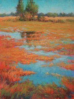 "Across the Field || Barbara Jaenicke, Pastel on Panel 16 x 12"""